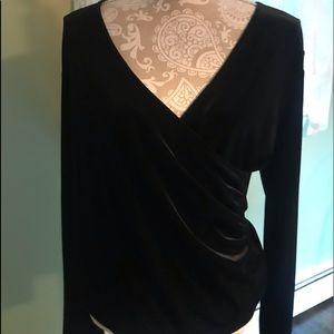 Kate Hill long sleeve black velvet blouse L